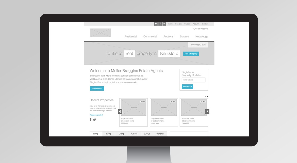 Meller Braggins Wireframe and UX Design